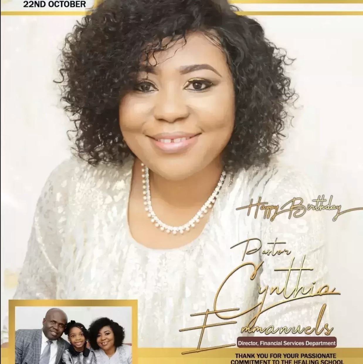 Happy birthday Pastor Cynthia, we