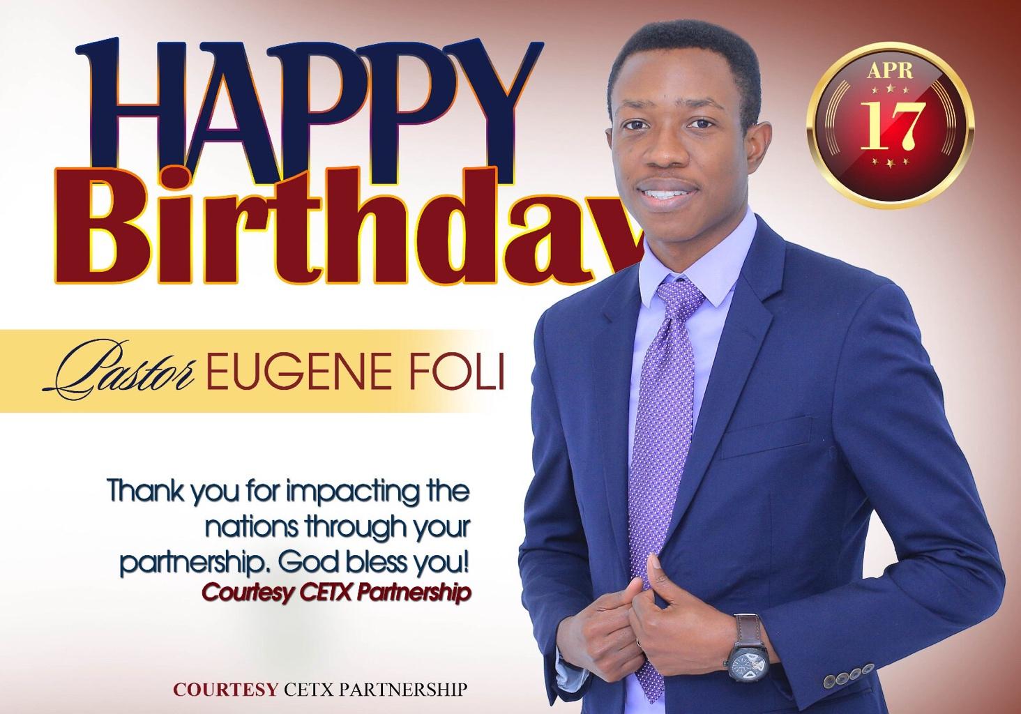 Happy birthday Pastor Eugene. Congratulations