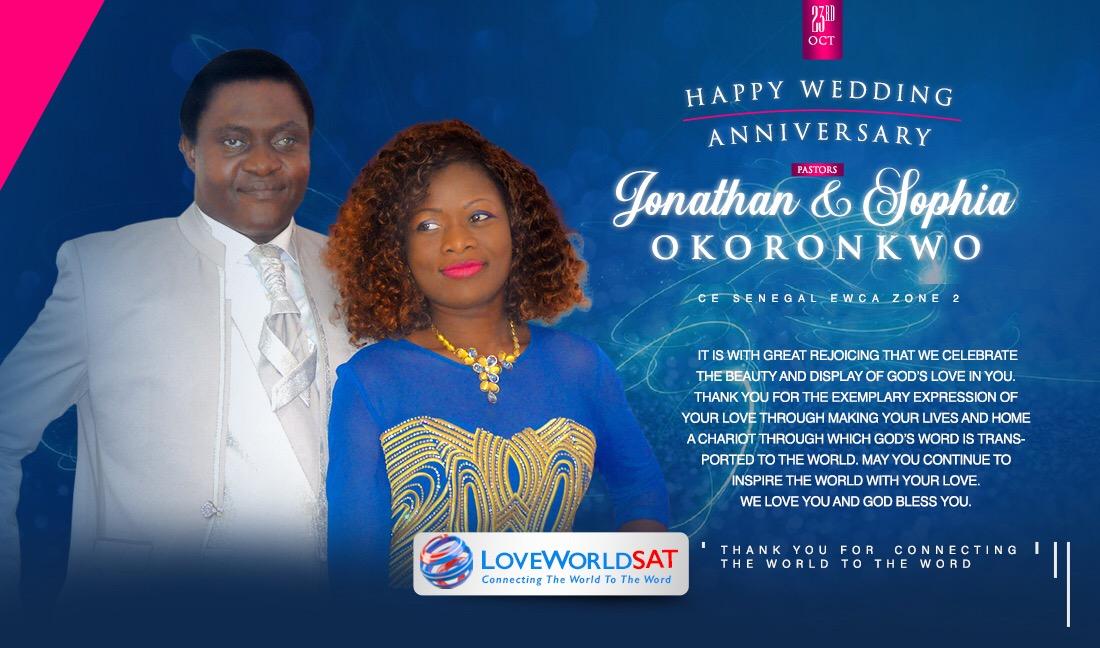 HAPPY WEDDING ANNIVERSARY PASTORS JONATHAN