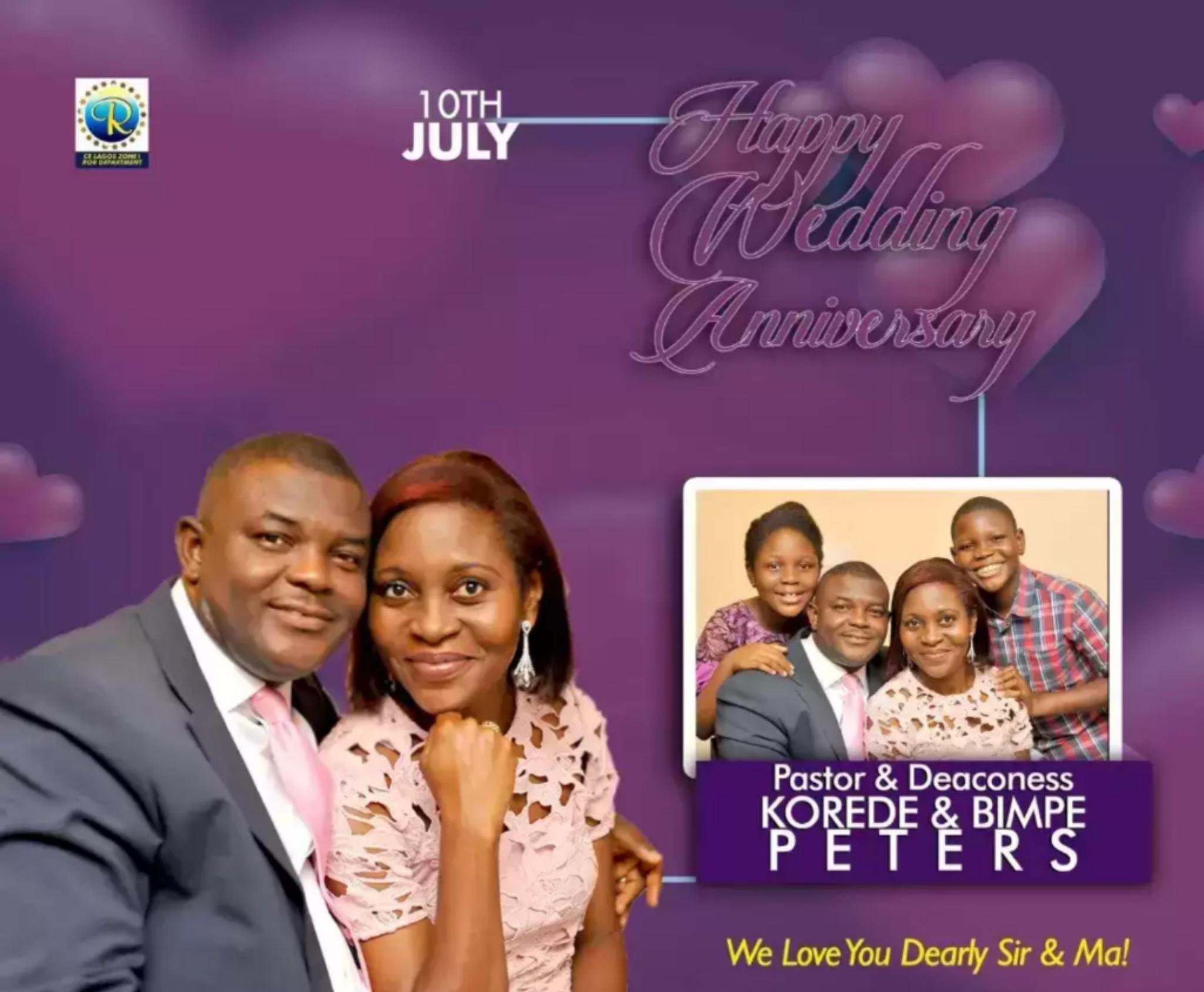 Happy wedding Anniversary dear esteemed