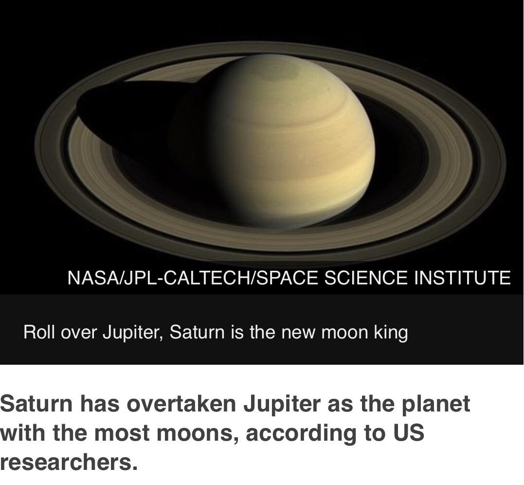 """Saturn overtakes Jupiter as planet"