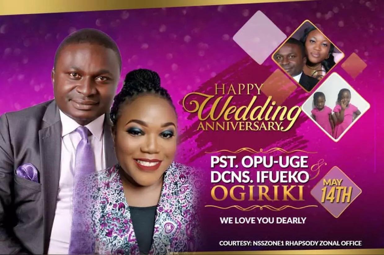 Happy Wedding Anniversary, Pastor Opu-Uge