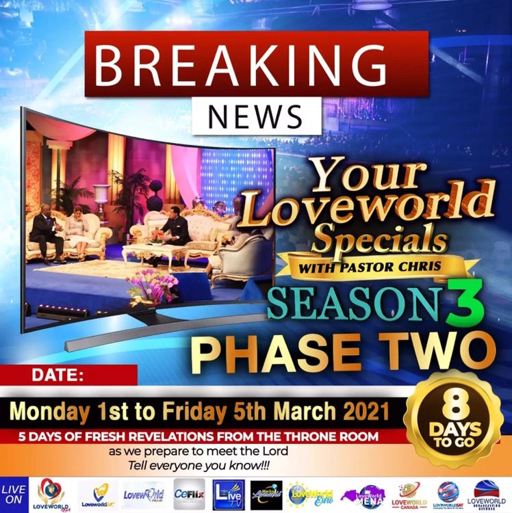 BREAKING NEWS!!! Your Loveworld Specials