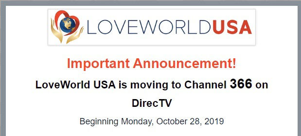 LoveWorld USA is moving to