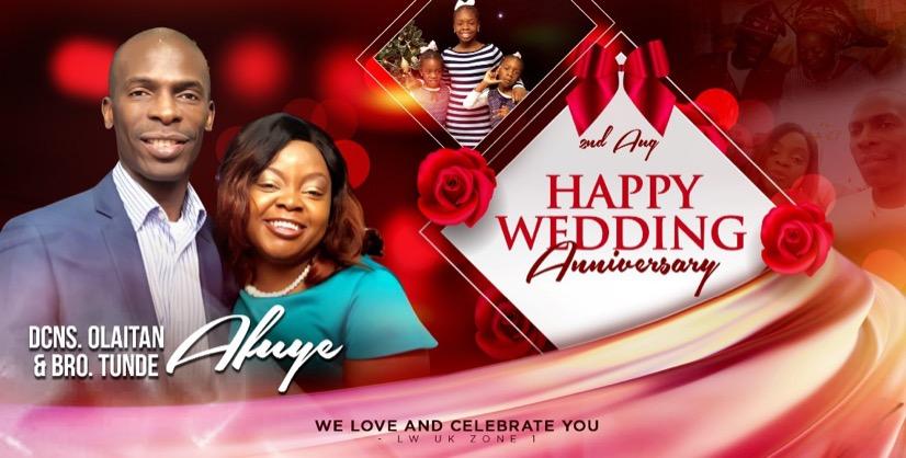 HAPPY WEDDING ANNIVERSARY DEACONESS OLAITAN