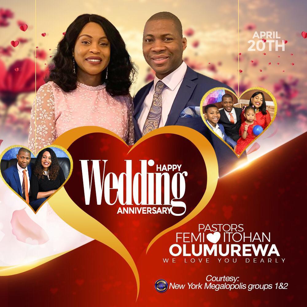 Happy Wedding Anniversary Esteemed Pastors