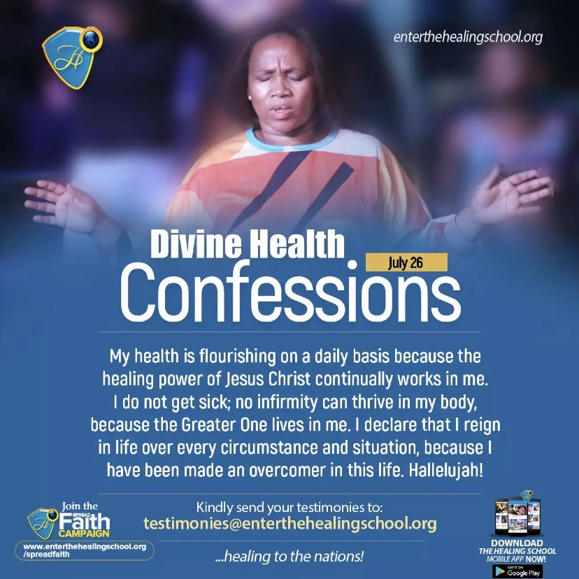 DIVINE HEALTH CONFESSIONS JULY 26