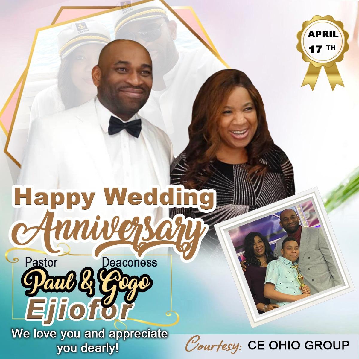 Happy Wedding Anniversary Esteemed Pastor