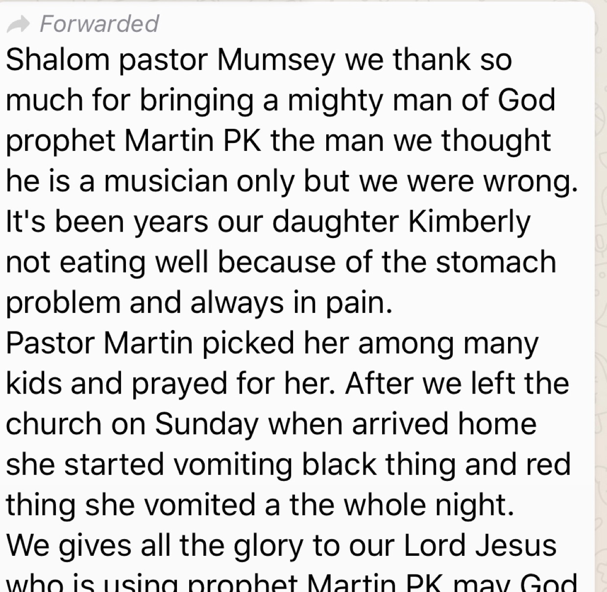 Testimonies from the Mother city