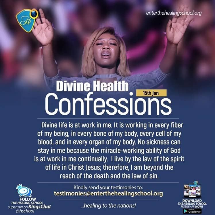 Divine Health Confessions 15 January