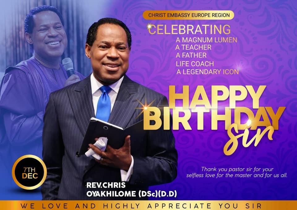 Happy Birthday Pastor Chris and