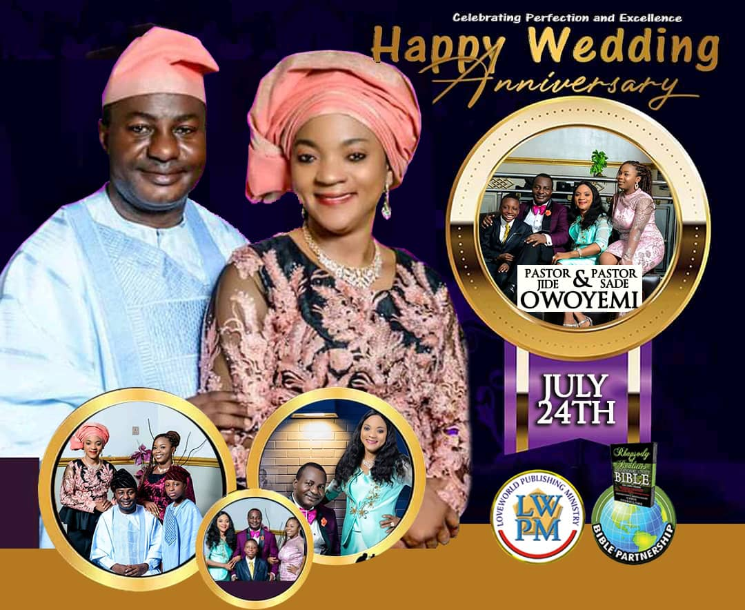 Happy wedding anniversary Pastor sir.
