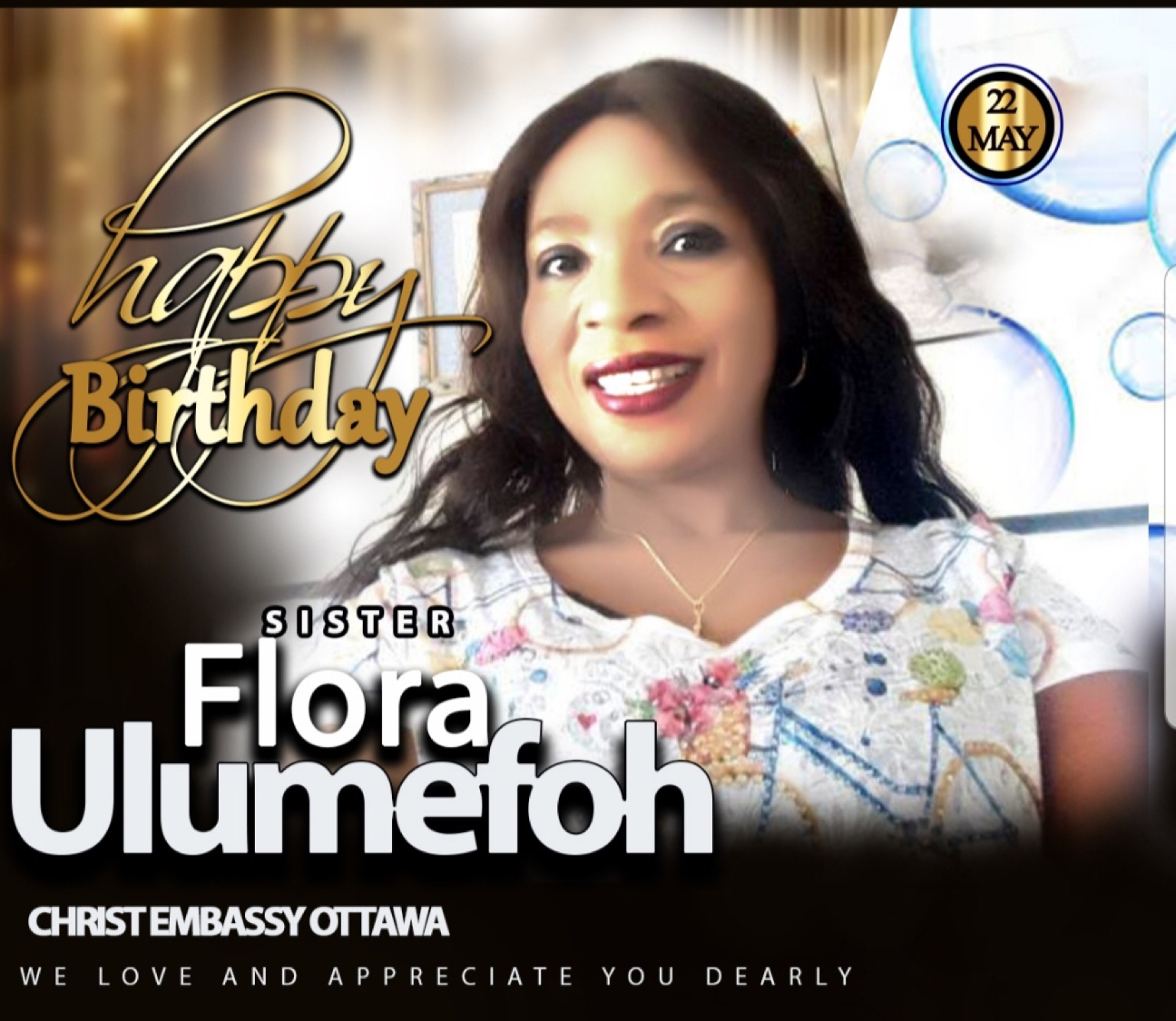 Happy Birthday Sis. Flora. #ceottawa