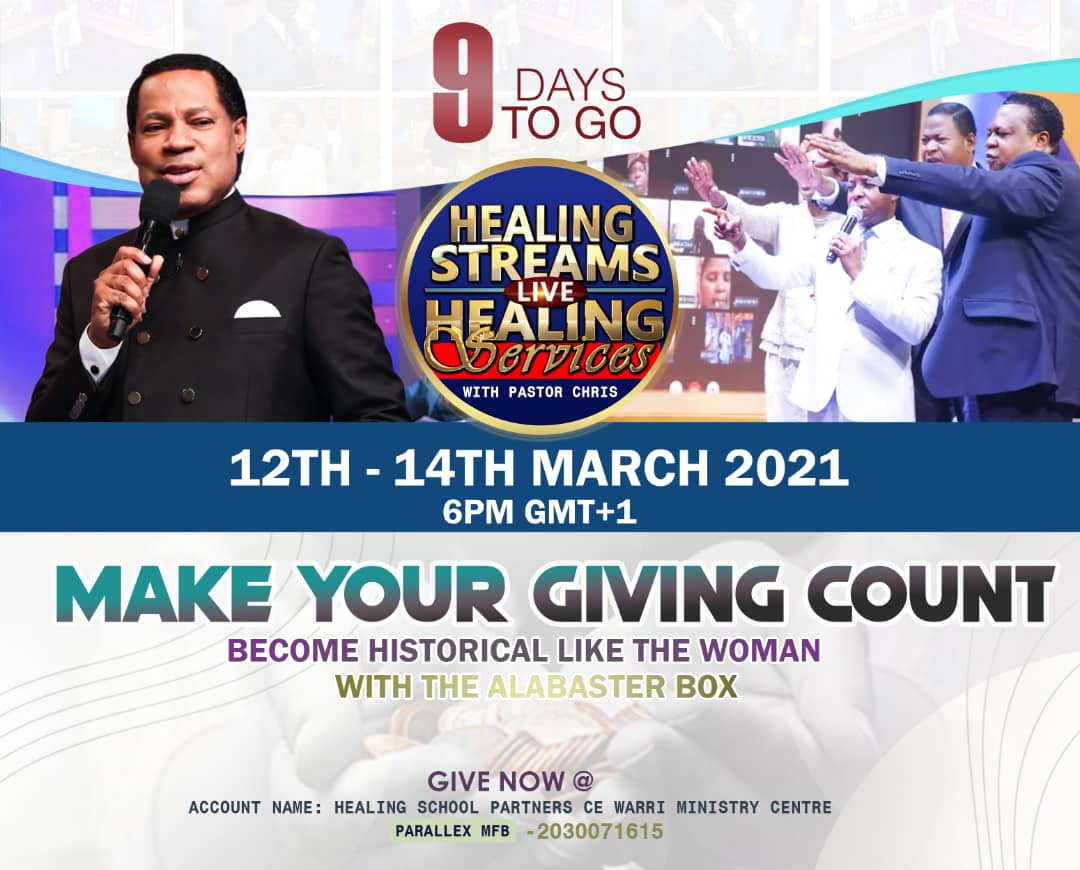 9 days to go! #LiveHealingServicesWithPastorChris