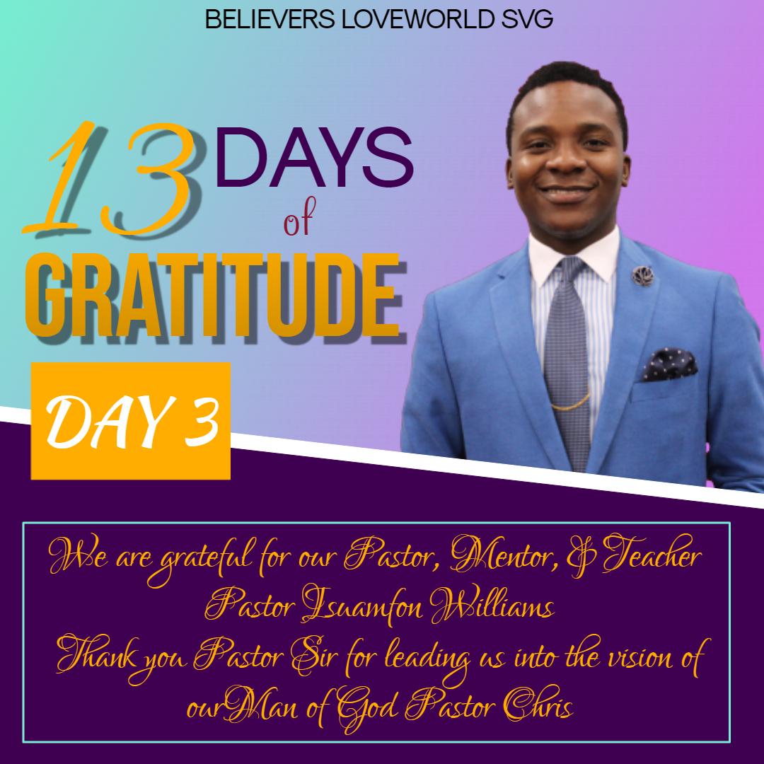13 DAYS OF GRATITUDE; DAY