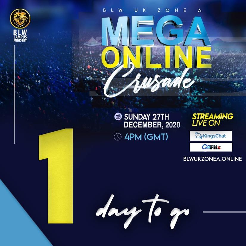 1 Day Left! #MegaOnlineCrusade #Blwcampusministr