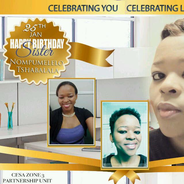 Happy birthday Sister Mpumi Thank